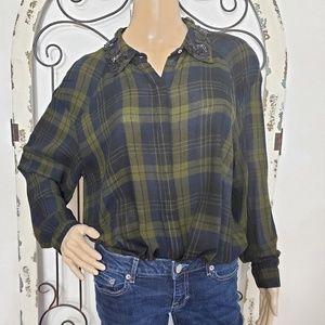 Zara beaded collar blouse medium
